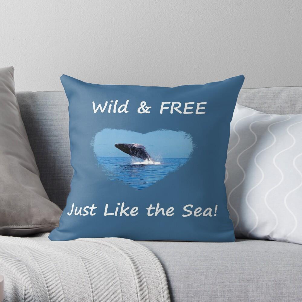 Wild Free Just Like The Sea Maui Humpback Whale Throw Pillow By Angelaraymond Redbubble
