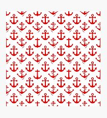Nautical Red Sail Boat Anchors on White Photographic Print