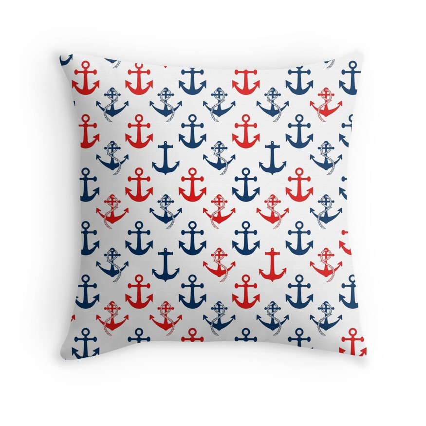 Red and Blue Nautical Sail Boat Anchors on White