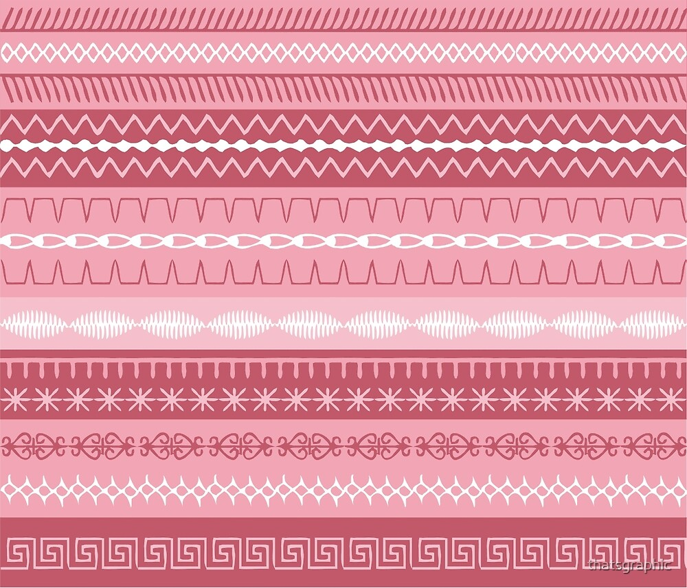 Sewing Stitches on Pink Stripes by thatsgraphic