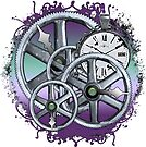 Gears and Time in Blue and Purple by RetroArtFactory