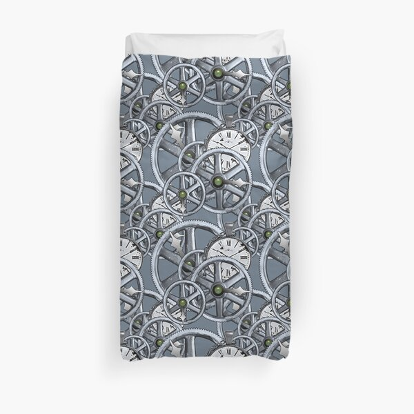 Gears and Time in Blue and Purple Duvet Cover