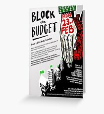 Protest Poster - Block the Budget Greeting Card