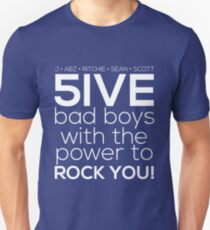 5ive Bad Boys with the Power to ROCK YOU! (original lineup - white version) T-Shirt