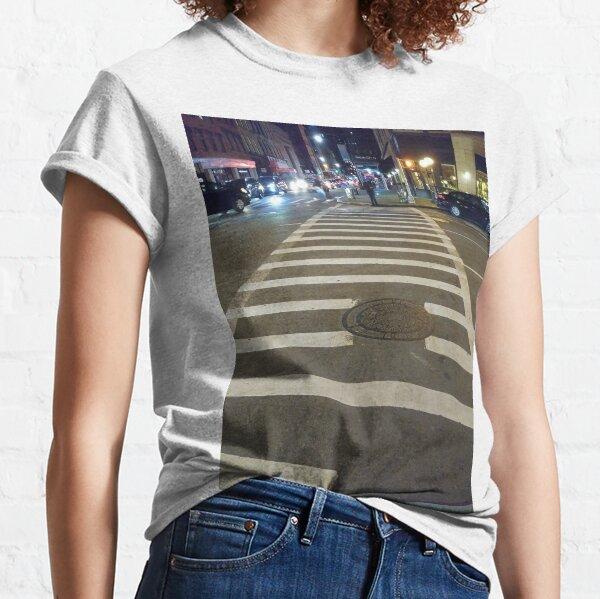 Building, Skyscraper, New York, Manhattan, Street, Pedestrians, Cars, Towers Classic T-Shirt