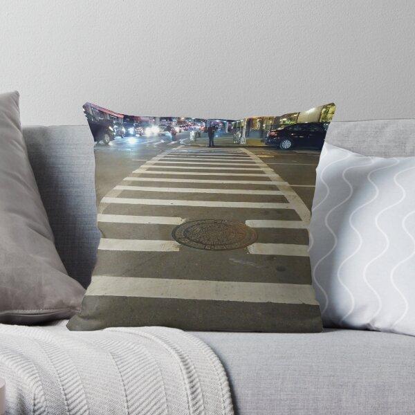 Building, Skyscraper, New York, Manhattan, Street, Pedestrians, Cars, Towers Throw Pillow