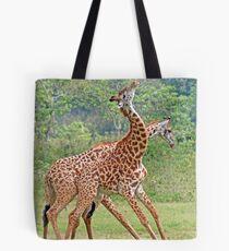 Sparring Giraffes, Arusha National Park, Tanzania, Africa Tote Bag