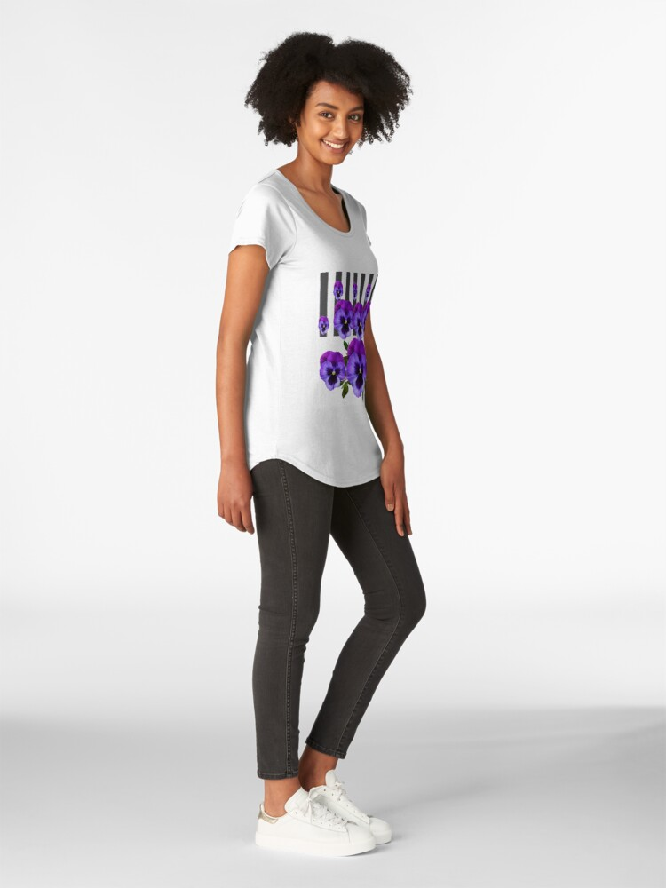 Alternative Ansicht von WEISSE LILA & PURPLE PANSY BLUMEN Premium Rundhals-Shirt