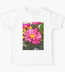 The Pink and Yellow Flowers with the Big Green Leaves Kids Tee