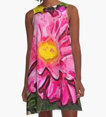 The Pink and Yellow Flowers with the Big Green Leaves A-Line Dress