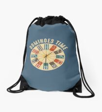 Funny Dominoes Shirt Vintage Retro Clock Graphic Drawstring Bag
