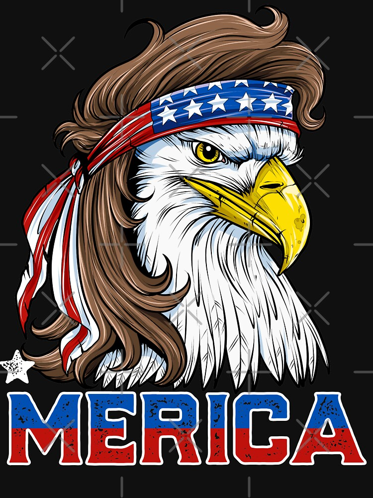 Eagle Mullet T Shirt 4th of July American Flag Merica USA by LiqueGifts