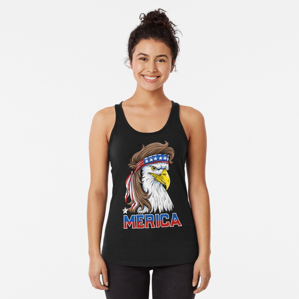 Eagle Mullet T Shirt 4th of July American Flag Merica USA Racerback Tank Top