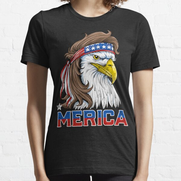 Eagle Mullet T Shirt 4th of July American Flag Merica USA Essential T-Shirt