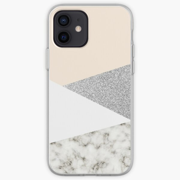 White marble and silver glitter iPhone Soft Case