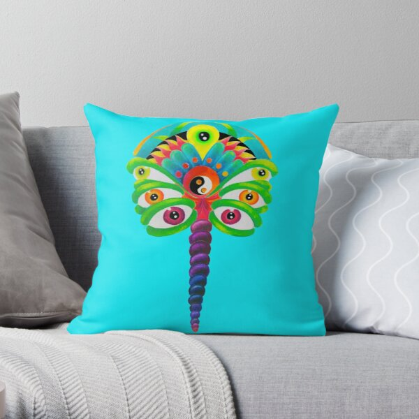 Psychedelic Flutterby Throw Pillow