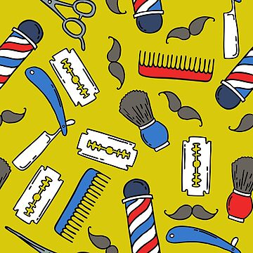 barbershop seamless doodle pattern by zizimentos