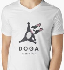 Cute Doga Warrior Apparel (French Bulldog Yoga Stretch Pose - Dog stretching) Perfect Gift for Dog, Bulldog, Frenchie, or Yoga Lovers Men's V-Neck T-Shirt