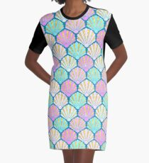 Seashells in lilac, pink and teal // mermaids shells Graphic T-Shirt Dress
