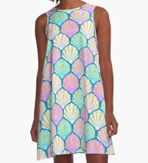 Seashells in lilac, pink and teal // mermaids shells A-Line Dress