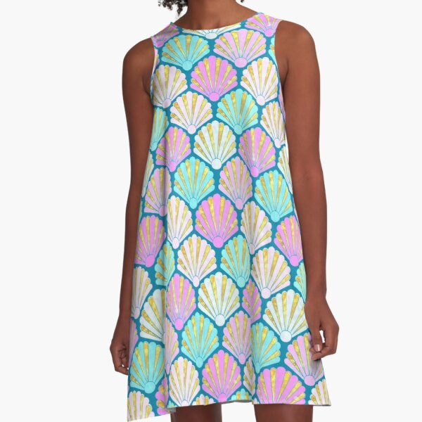 Seashell pattern in pink and teal // mermaids shells A-Line Dress