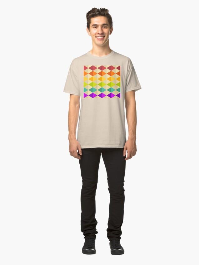 Alternate view of Geometric Pattern: Split Diamond: Rainbow Classic T-Shirt