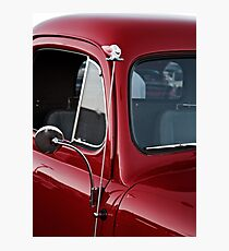 Clown Head Antennae Topper on a Red Car Photographic Print