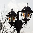 Bejeweled Pair - Stained Glass Lanterns and Bare Branches by Georgia Mizuleva