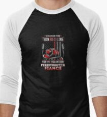 Volunteer Firefighter Fiance Support Men's Baseball ¾ T-Shirt