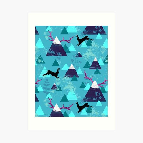 blu mountains Art Print