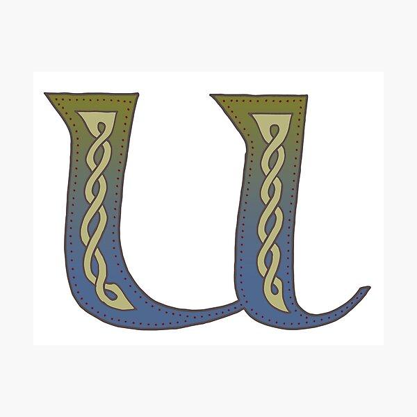 Celtic Knotwork Alphabet - Letter U Photographic Print
