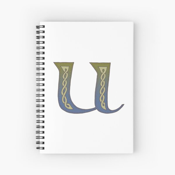 Celtic Knotwork Alphabet - Letter U Spiral Notebook