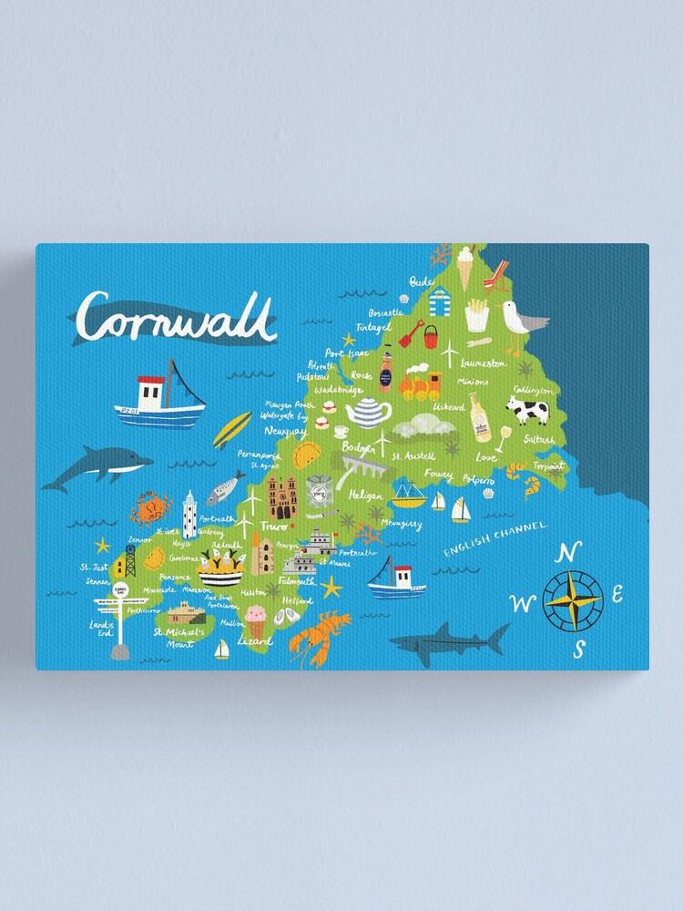 Cornwall Karte Leinwanddruck Von Melaniechadwick Redbubble