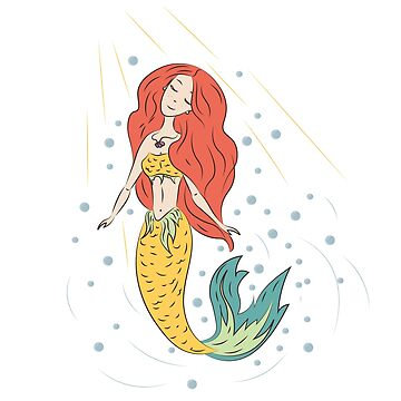 A cheerful mermaid with red hair.  by saroutlander