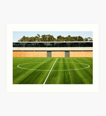 Centerline of an empty soccer stadium Art Print