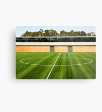 Centerline of an empty soccer stadium Metal Print