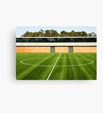 Centerline of an empty soccer stadium Canvas Print