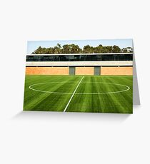 Centerline of an empty soccer stadium Greeting Card