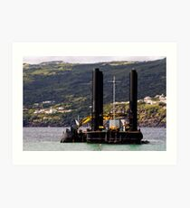 Dredger and barge working near the shore Art Print