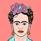 Frida Kahlo ( Coral background ) by Adam Regester