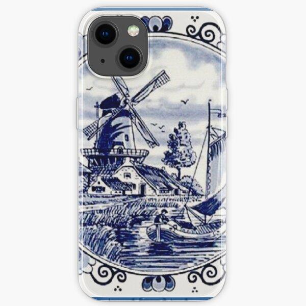 DUTCH BLUE DELFT: Vintage Windmill Print iPhone Soft Case