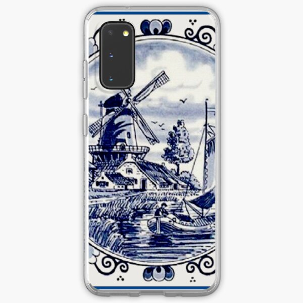 DUTCH BLUE DELFT: Vintage Windmill Print Samsung Galaxy Soft Case