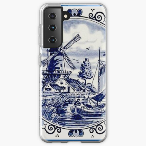 DUTCH BLUE DELFT: Imprimé moulin à vent vintage Coque souple Samsung Galaxy