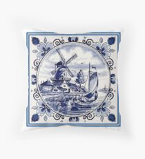 Cojín DUTCH BLUE DELFT: Vintage Windmill Print