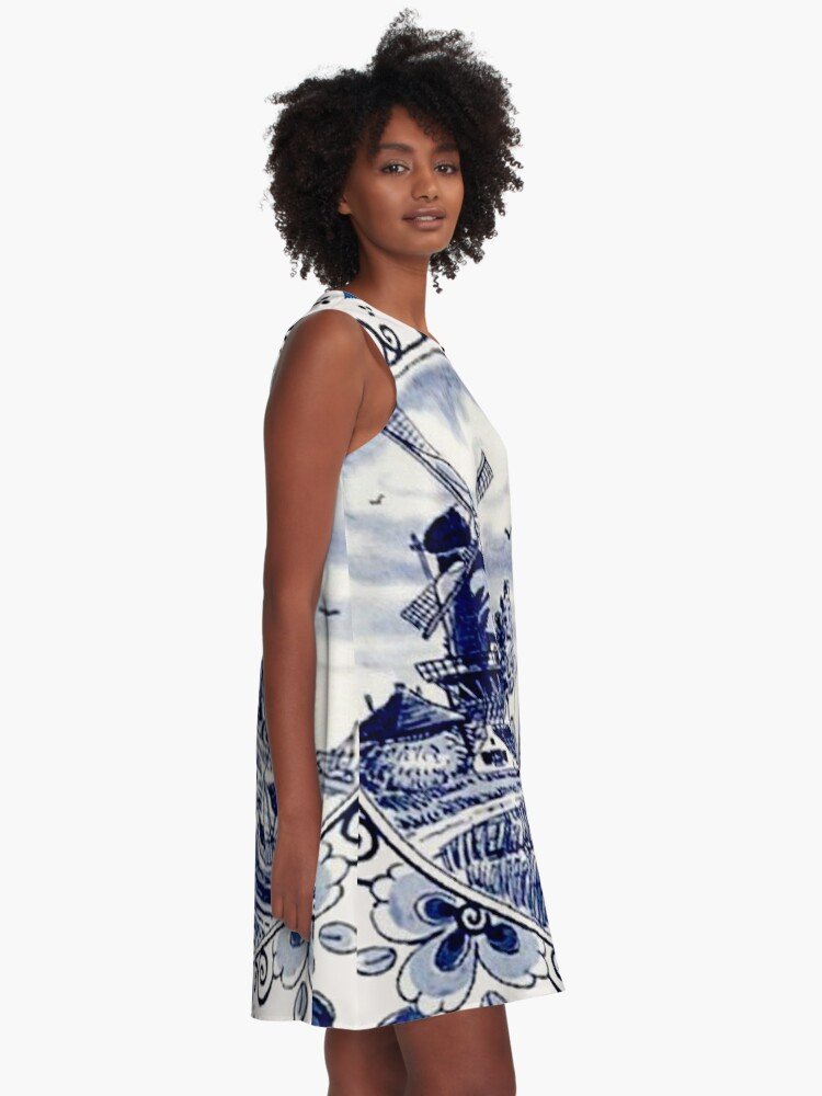 Alternate view of DUTCH BLUE DELFT: Vintage Windmill Print A-Line Dress