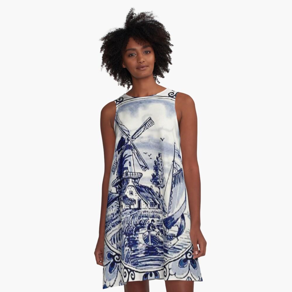 DUTCH BLUE DELFT: Vintage Windmill Print A-Line Dress