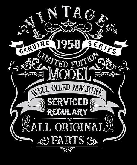Vintage 60th Birthday Funny 1958 All Original Parts