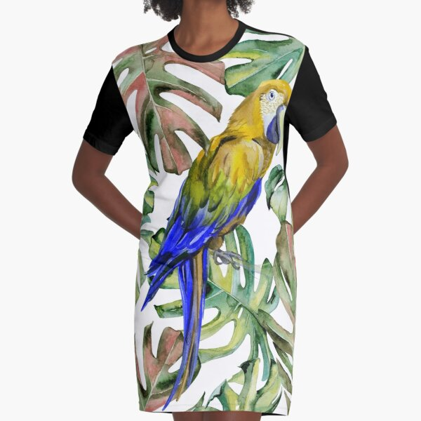 PARROT IN THE JUNGLE Graphic T-Shirt Dress
