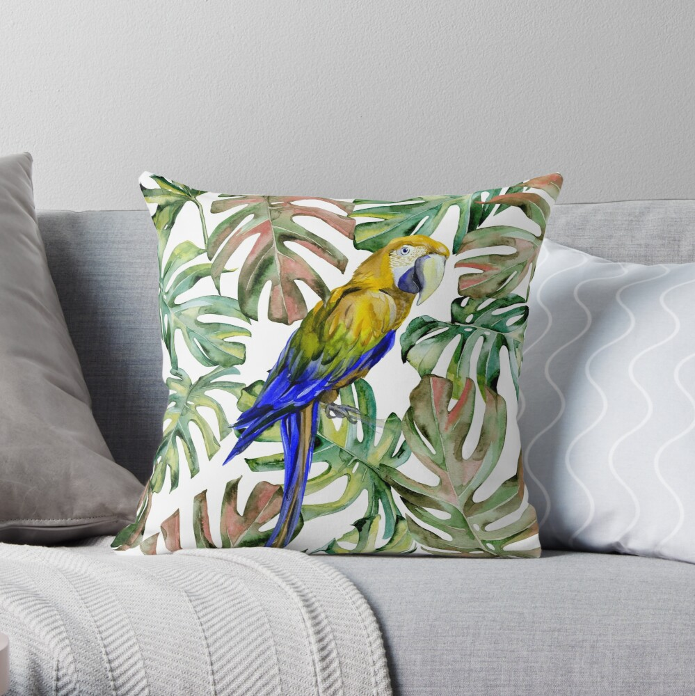 PARROT IN THE JUNGLE Throw Pillow