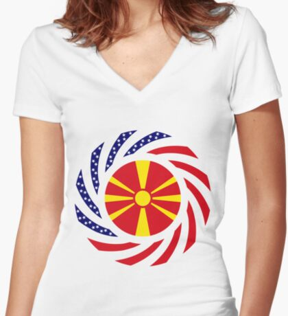 Macedonian American Multinational Patriot Flag Series Fitted V-Neck T-Shirt